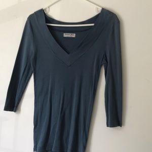 Blue fitted 3/4 length  sleeve tee